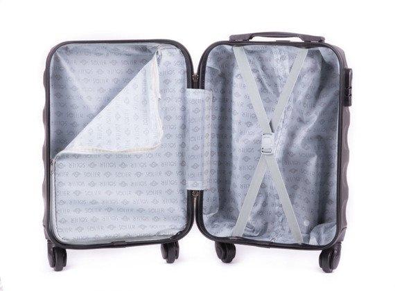 Mała walizka podróżna na kółkach SOLIER STL402 ABS XS ciemnoszara