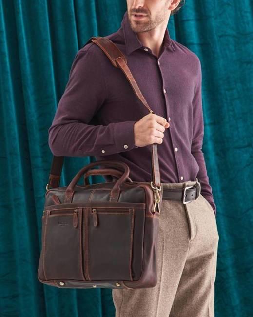 Męska torba na laptopa koniak Badura LAP-2381-B-COM COGNA