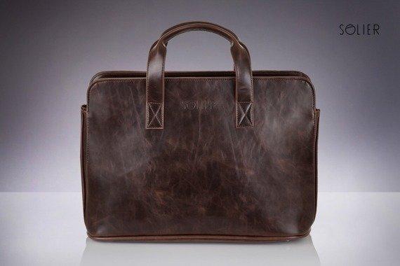 Męska torba na ramię, torba na laptop SOLIER S05 ciemnobrązowa