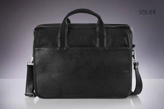 Męska torba na ramię, torba na laptop SOLIER S13 nowoczesna czarna