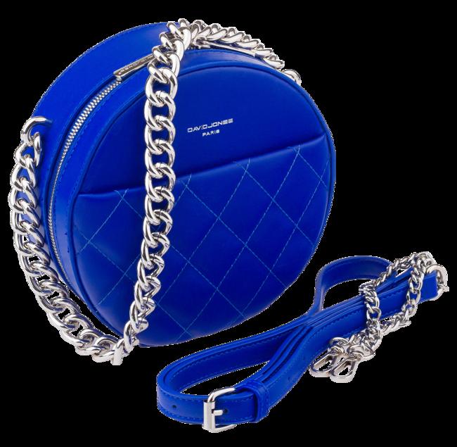 Okrągła listonoszka pikowana David Jones niebieska CM5703