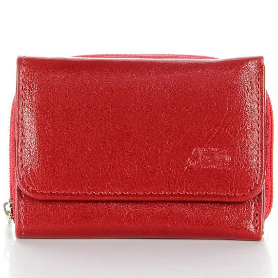 P109 czerwona skórzana portmonetka damska