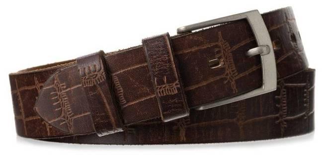Pasek męski brązowy croco Badura PBJ-02-C