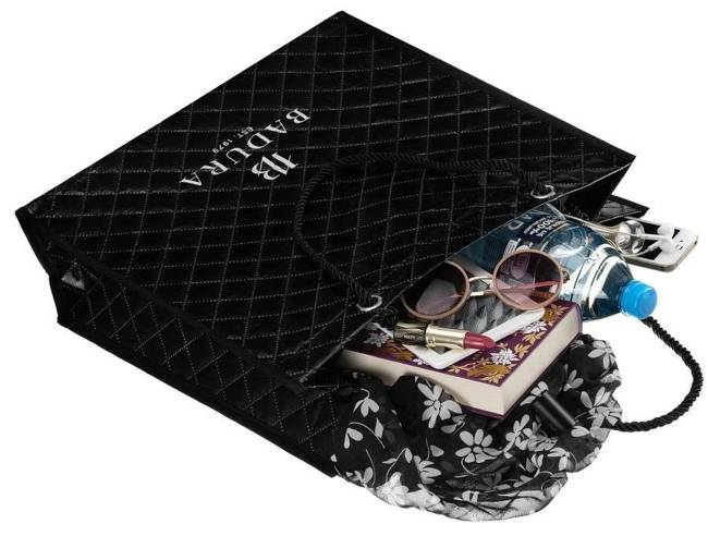Pikowana torba na zakupy czarna Badura BA033 BLACK