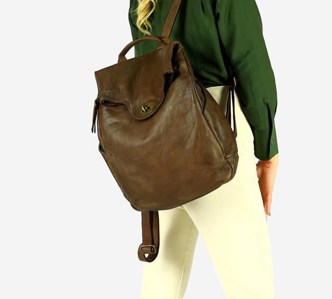 Plecak damski MARCO MAZZINI czekoladowy brąz v71g