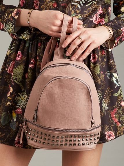 Plecak damski z ćwiekami różowy Bella Belly 2741