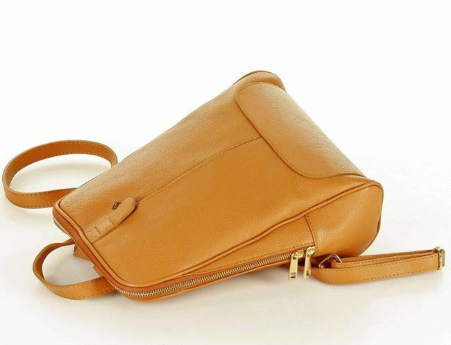 Plecak skórzany brąz camel GENUINE LEATHER pl30m