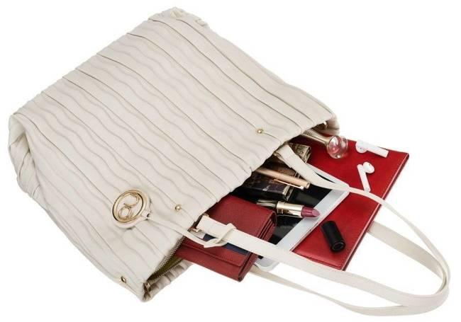Plisowany shopper biały Nobo NBAG-K3590-C000