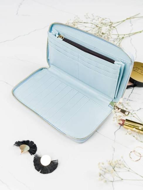 Pojemny portfel damski niebieski Milano Design