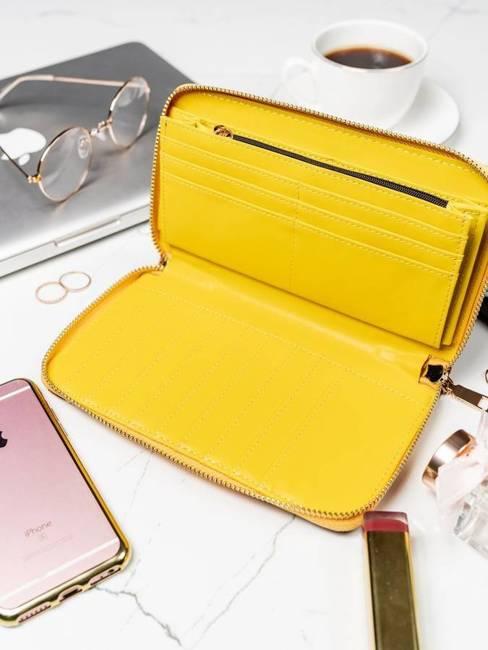 Pojemny portfel damski żółty Milano Design