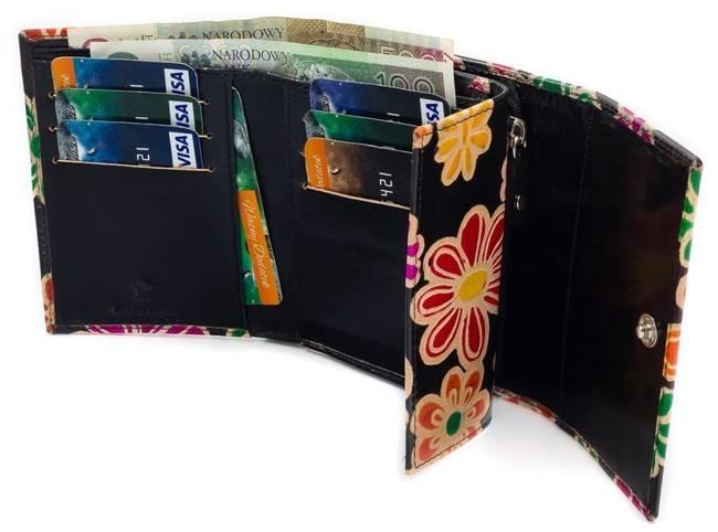 Portfel damski czarny w kwiaty SPG-99-SHANTI BLACK