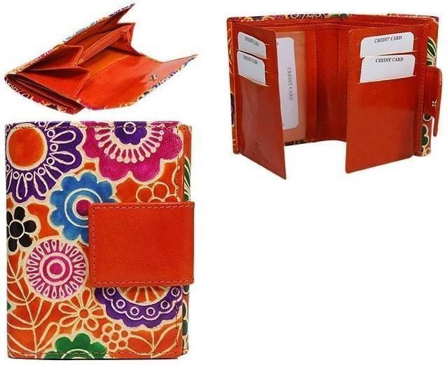 Portfel damski pomarańczowy kwiaty SPG-100-SHANTI ORANG