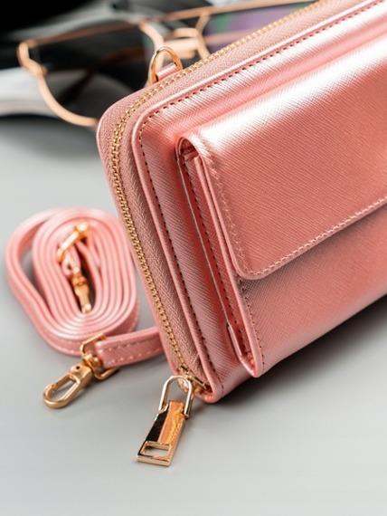 Portfel damski różowy, mini torebka Milano Design 1838