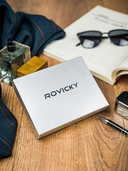 Portfel męski Rovicky 326-RBA-D NAVY-RED granatowo-czerwony