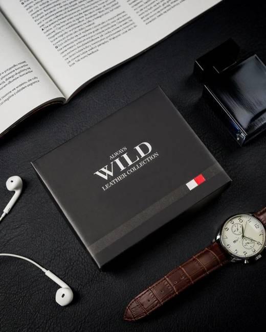 Portfel męski brązowo-beżowy Always Wild N1662L-R-RFID BR+TAN
