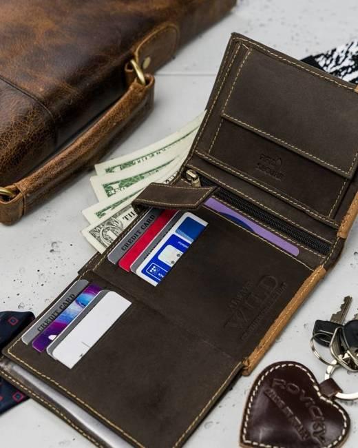 Portfel męski brązowy Always Wild N104-R-RFID BR+TAN