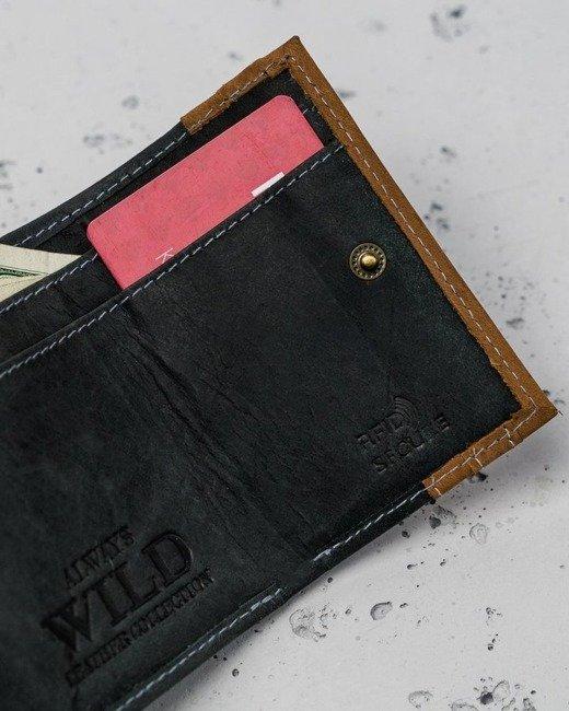 Portfel męski czarno-beżowy Always Wild N28-R-RFID BLACK+TAN