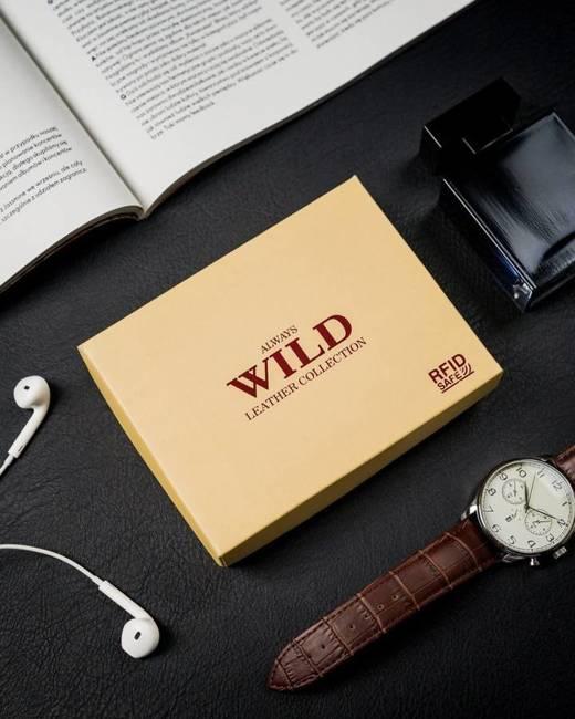 Portfel męski czarny Always Wild N0035L-SCR-3193 BL