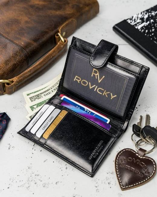 Portfel męski czarny Rovicky N74L-RVT BLACK