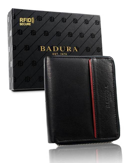 Portfel męski czarny na suwak Badura B-N31892-CAW BLACK