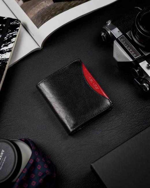 Portfel męski czarny z czerwoną wstawką Rovicky 1520-03-BOR-1164 BLA