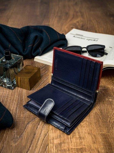 Portfel męski czerwono-granatowy Rovicky 331L-RBA-D NAVY-RED