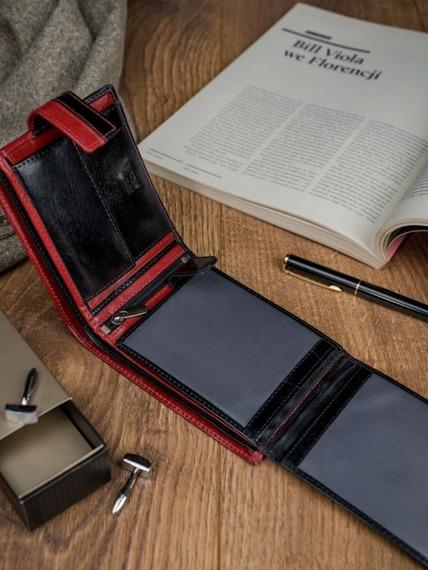Portfel męski skórzany RFID Rovicky N992L-VT2 czarno-czerwony
