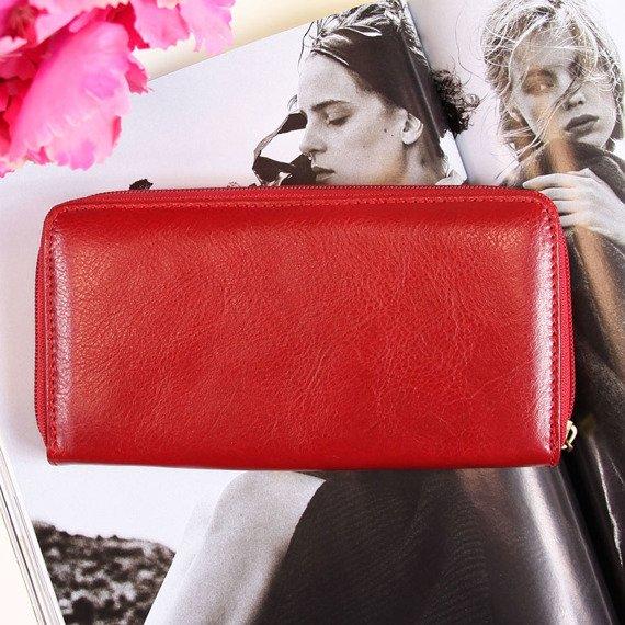 Portfel skórzany damski KRENIG Classic 12014 czerwony