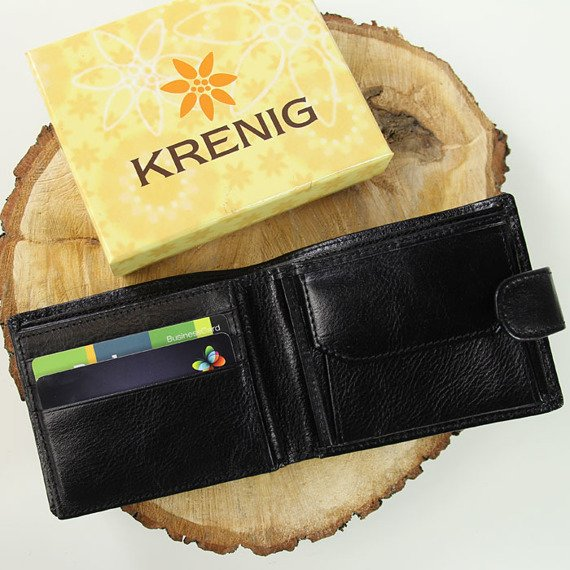 Portfel skórzany męski KRENIG Classic 12005 czarny w pudełku