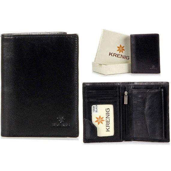 Portfel skórzany męski KRENIG Classic 12028 czarny w pudełku