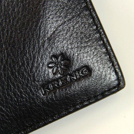 Portfel skórzany męski KRENIG Classic 12082 czarny w pudełku