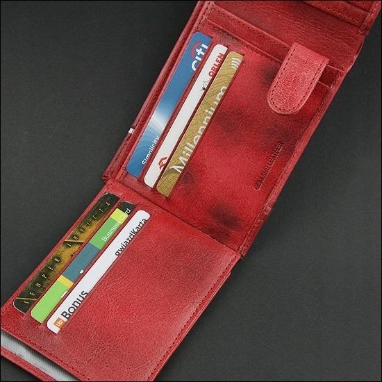 Portfel skórzany męski patriotyczny M992B-HP czerwony