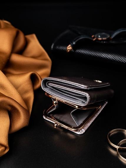 Portmonetka damska na bigiel srebrna Milano Design