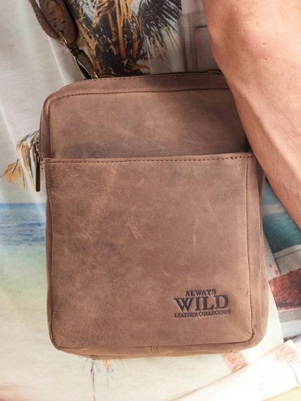 Saszetka skórzana torba na ramię Always Wild czarna