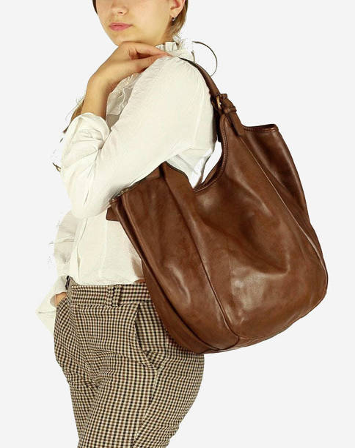 Shopper bag MARCO MAZZINI ciemny beż khaki v141e