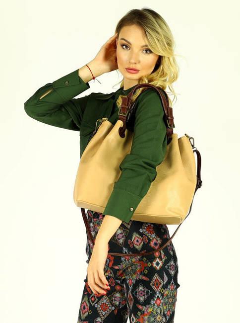 Shopper bag MARCO MAZZINI karmelowy beż s268b