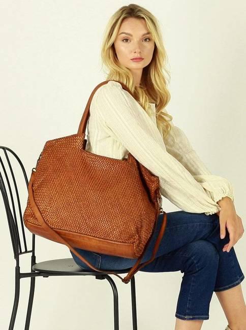 Shopper damski MARCO MAZZINI brąz camel v167b