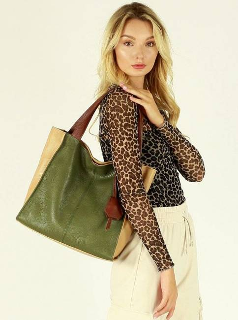 Shopper damski MAZZINI zieleń militare s139j
