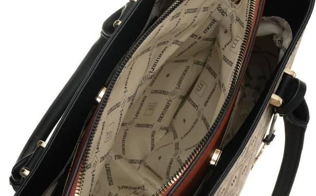 Shopper damski beżowo-czarny Monnari BAG1830-M15