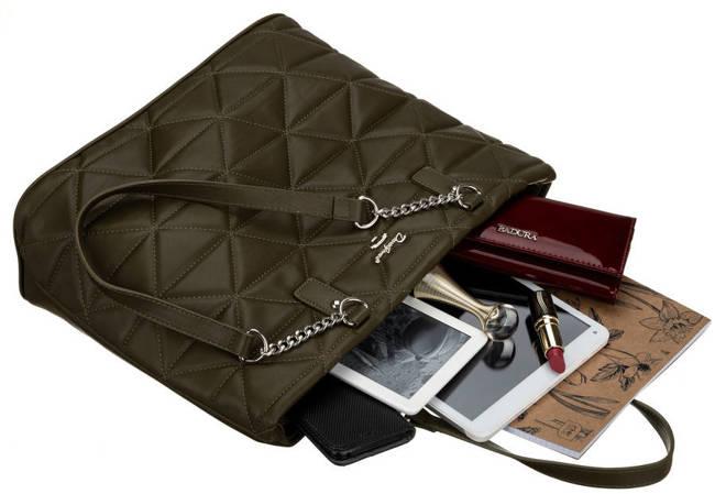 Shopper pikowany khaki David Jones CM6222 KHAKI