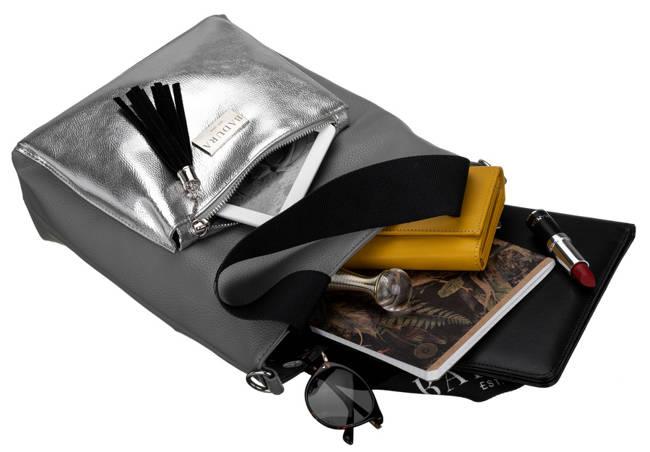 Shopperka szara srebrna kieszeń Badura T_D200SZ_CD