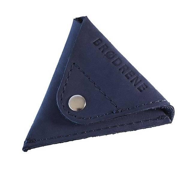 Skórzana bilonówka coin wallet BRODRENE CW01 granatowy