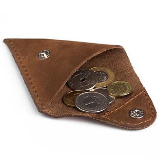 Skórzana bilonówka coin wallet BRODRENE CW01 jasnobrązowa