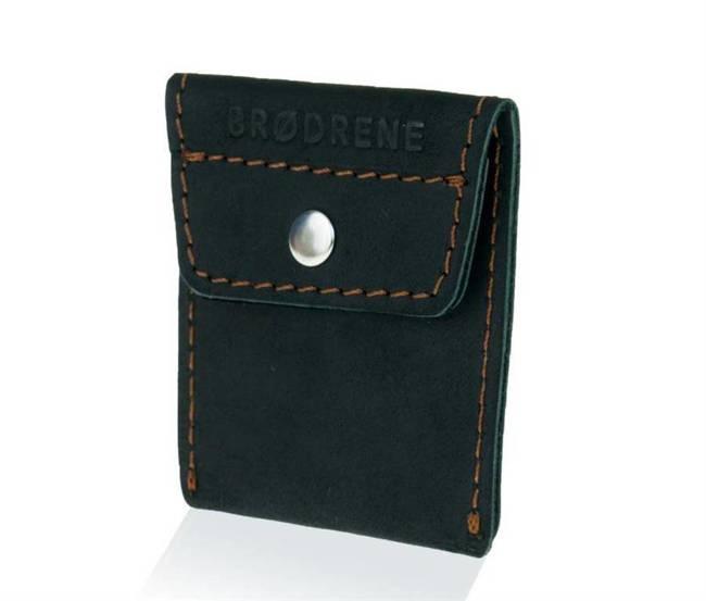 Skórzana bilonówka coin wallet BRODRENE CW02 czarna