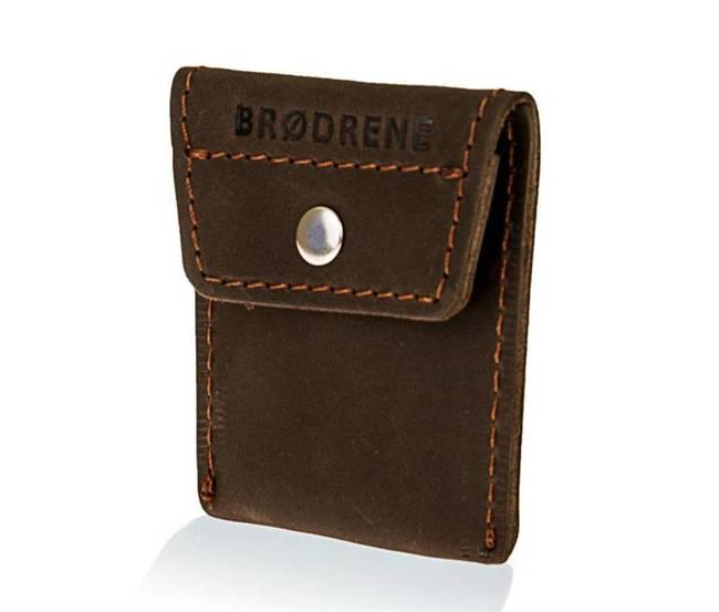 Skórzana bilonówka coin wallet BRODRENE CW02 ciemnobrązowa