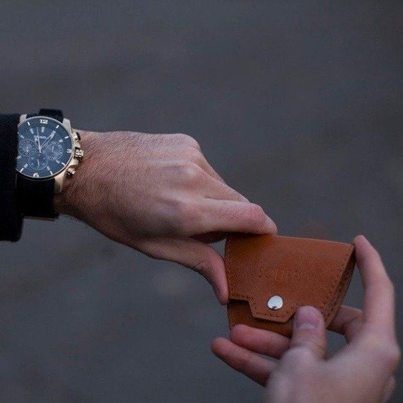 Skórzana bilonówka, portfel na monety SOLIER SA10 Brąz