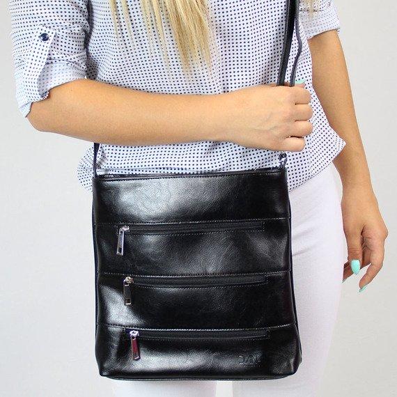 Skórzana damska elegancka listonoszka DAN-A T285 czarna