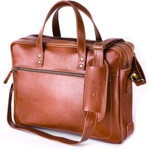 Skórzana męska torba na laptopa SOLIER brązowa