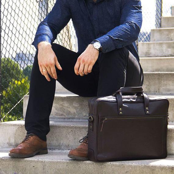 Skórzana męska torba na laptopa SOLIER ciemnobrązowa