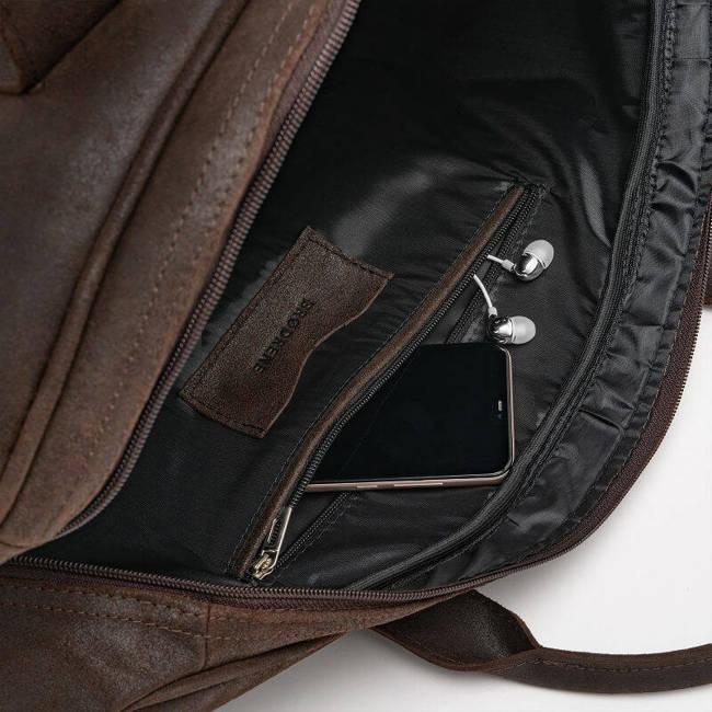 Skórzana podróżna torba weekendowa Brodrene BL10 c.brązowa